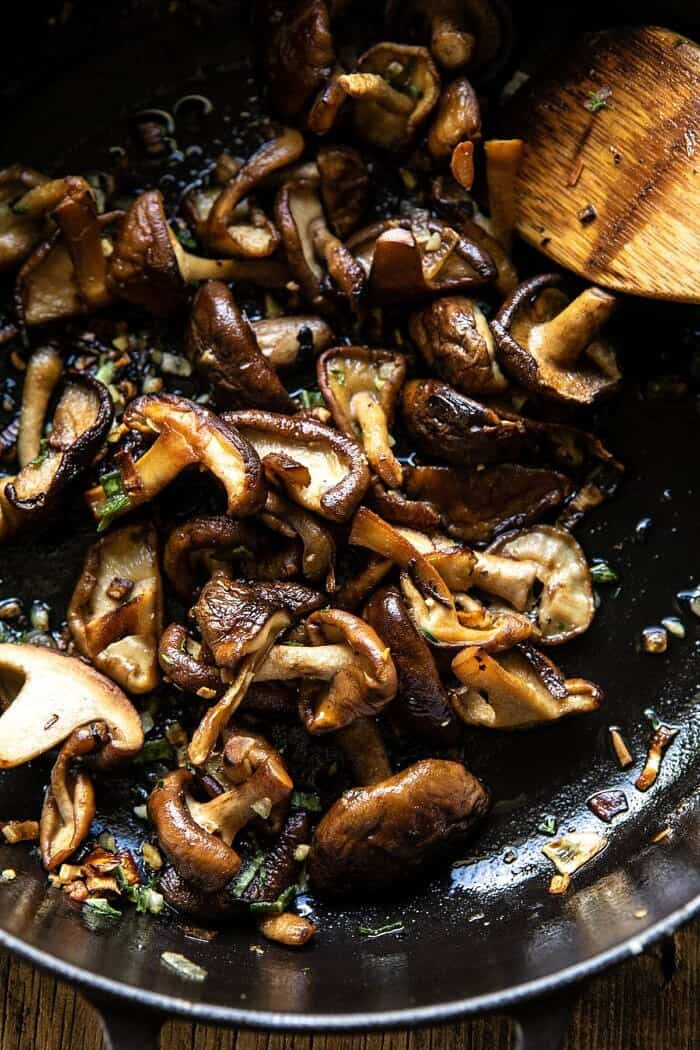 overhead photo of Herby Buttered Mushrooms in skillet