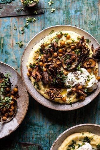 Pesto Polenta with Thyme Roasted Mushrooms and Chickpeas | halfbakedharvest.com #pesto #polenta #mushrooms #easyrecipes