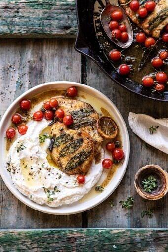 Sage Lemon Butter Chicken Piccata with Mashed Cauliflower | halfbakedharvest.com #chicken #healthyrecipes #easyrecipes #fall #autumn