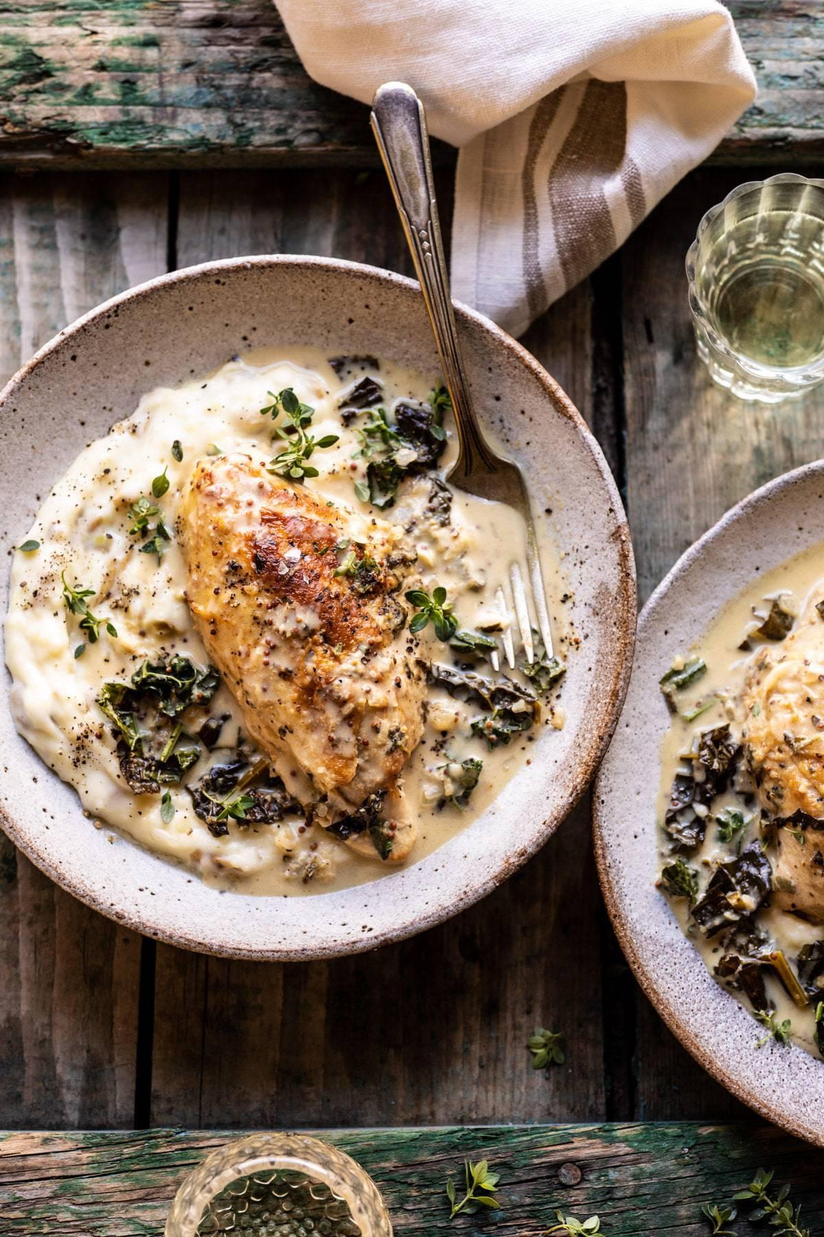 Slow Cooker French Wine and Mustard Chicken   halfbakedharvest.com #slowcooker #crockpot #instantpot #chicken