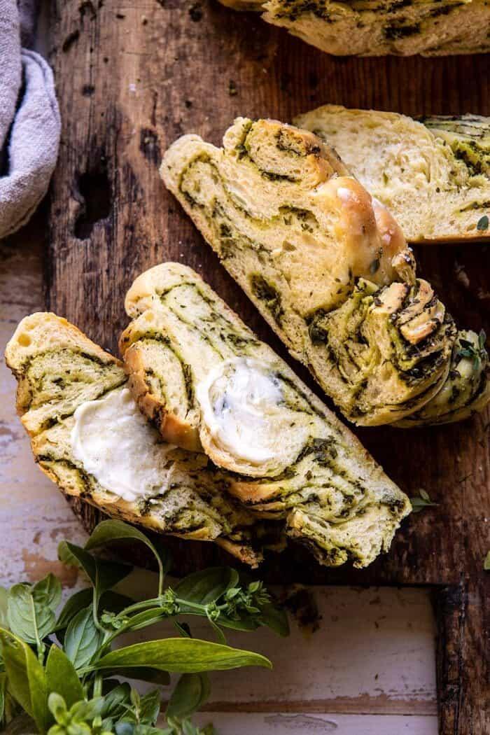 overhead photo of Swirled Garlic Herb Bread slices