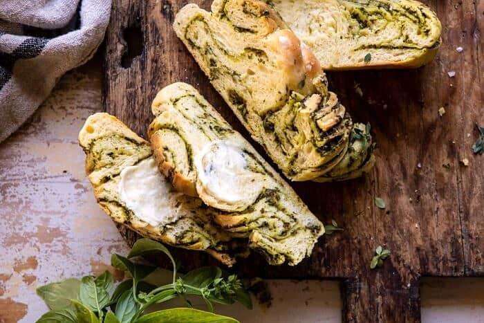 horizontal photo of Swirled Garlic Herb Bread