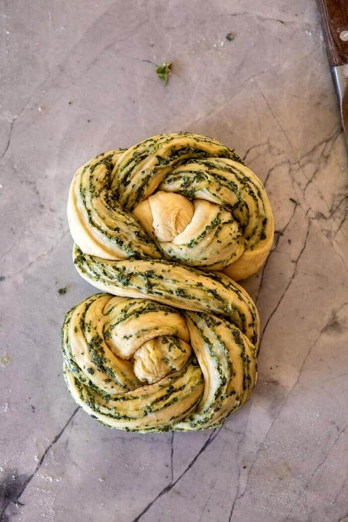 Swirled Garlic Herb Bread on counter before baking