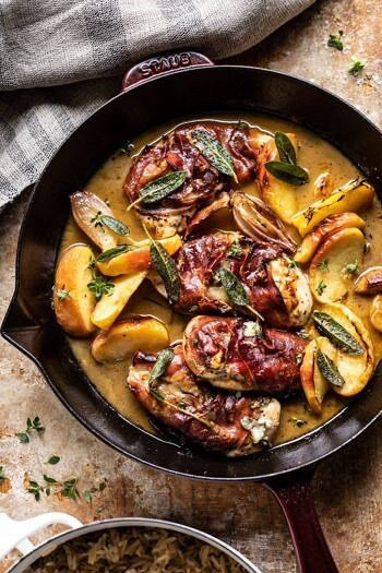 Prosciutto Apple and Sage Butter Chicken with Cider Pan Sauce.