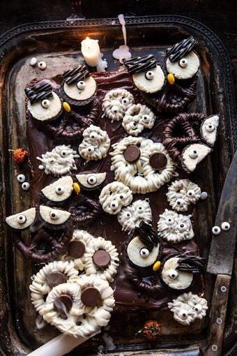 BOO! Spooky Monster Chocolate Covered Pretzel Brownies | halfbakedharvest.com #halloween #brownies #easyrecipes #dessert #fall