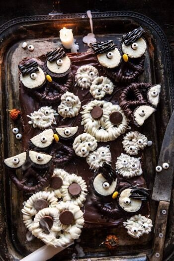 BOO! Spooky Monster Chocolate Covered Pretzel Brownies.