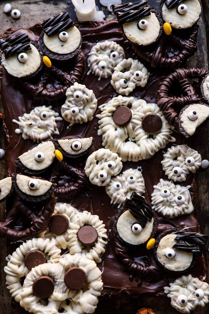 overhead close up photo of BOO! Spooky Monster Chocolate Covered Pretzel Brownies