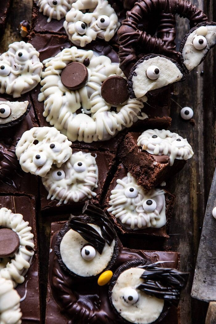 close up photo of BOO! Spooky Monster Chocolate Covered Pretzel Brownie