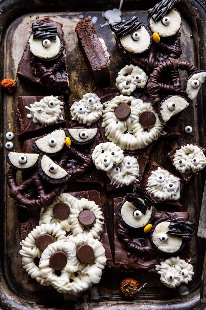 overhead photo of BOO! Spooky Monster Chocolate Covered Pretzel Brownies after being cut into bars