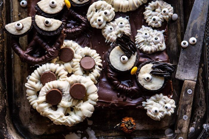 horizontal photo of BOO! Spooky Monster Chocolate Covered Pretzel Brownies