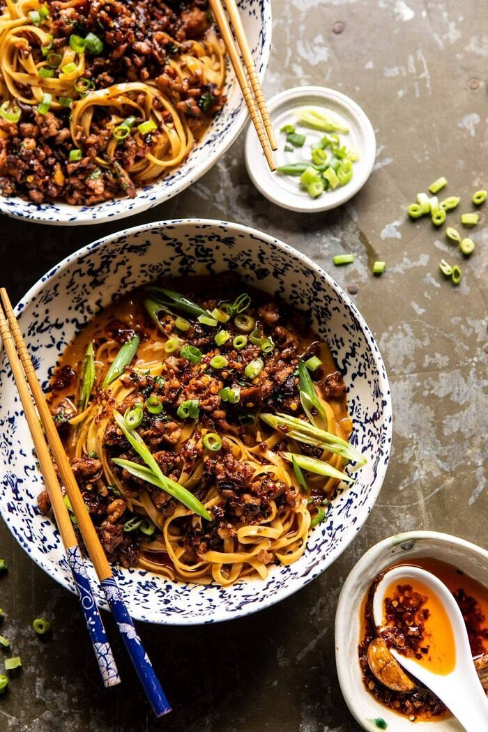 overhead photo of Better Than Takeout Dan Dan Noodles | halfbakedharvest.com #asian #takeout #easyrecipes #dinner