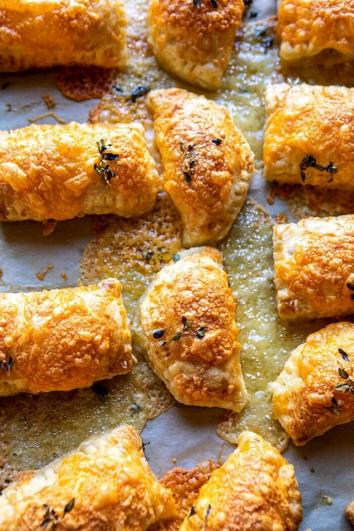 overhead photo of Cheddar Brie Pastries on baking sheet