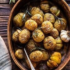 Crispy Rosemary Butter Roasted Potatoes.