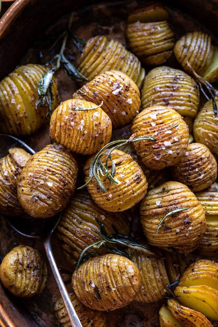 Crispy Rosemary Butter Roasted Potatoes | halfbakedharvest.com #potatoes #fall #autumn #Thanksgiving #Christmas