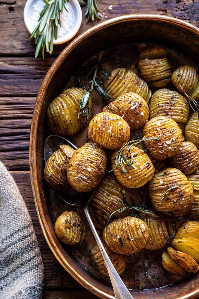 overhead photo of Crispy Rosemary Butter Roasted Potatoes