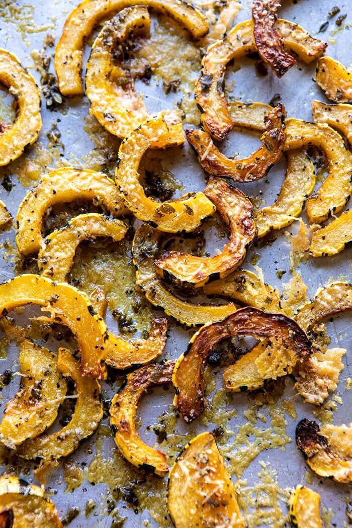 overhead photo of Roasted Delicata Squash of baking sheet