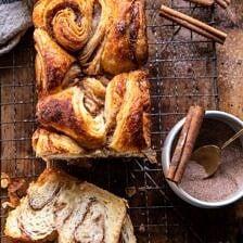 Easy Swirled Cinnamon Sugar Croissant Loaf.