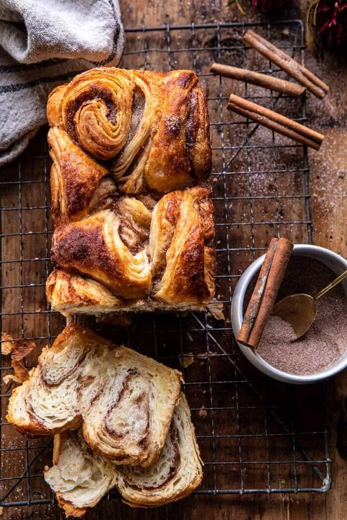 Easy Swirled Cinnamon Sugar Croissant Loaf | halfbakedharvest.com #cinnamon #fall #bread #croissants