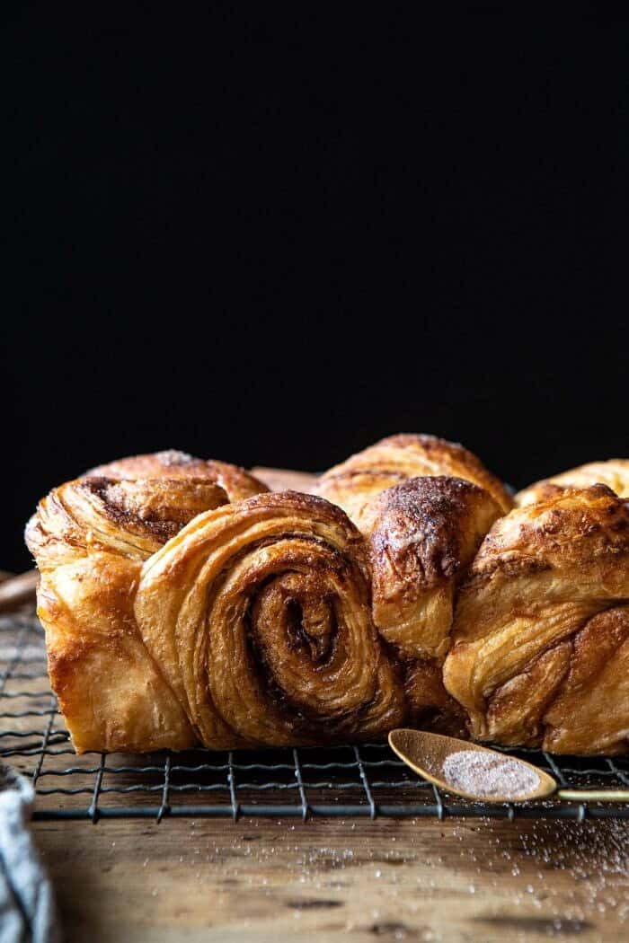 side angled close up photo of Easy Swirled Cinnamon Sugar Croissant Loaf