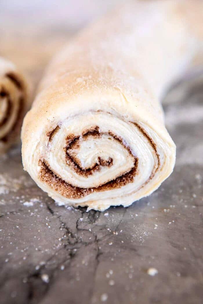 close up of dough log