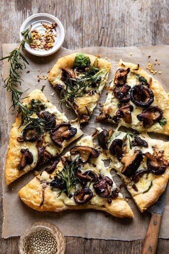 French Onion Mushroom Pizza | halfbakedharvest.com #pizza #mushrooms #easyrecipes