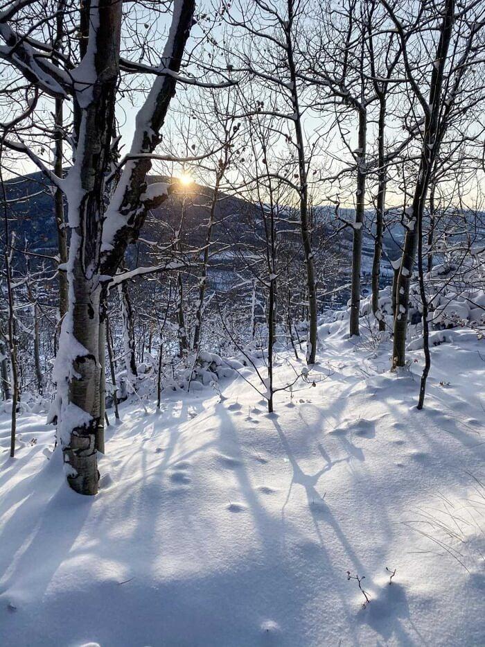 snow mountain sunrise