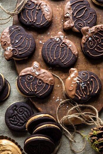 Peanut Butter Stuffed Chocolate Jack-O'-Lantern Cookies.