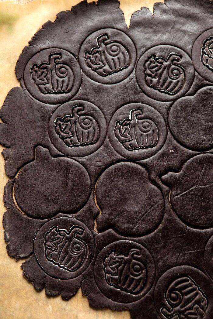 overhead photo of Chocolate Jack-O'-Lantern Cookies before baking