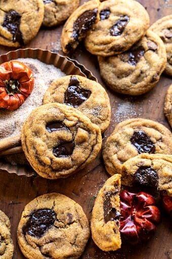 Pumpkin Butter Chocolate Chip Cookies | halfbakedharvest.com #pumpkin #cookies #chocolatechipcookies #fallrecipes