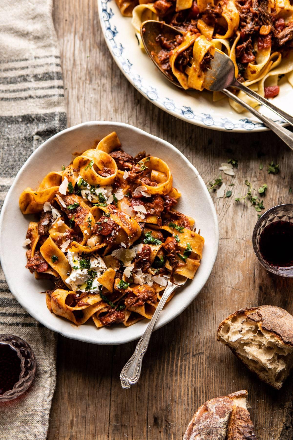 Slow Cooker Red Wine Sunday Ragu Pasta   halfbakedharvest.com #pasta #ragu #Italian #slowcooker #crockpot #instantpot