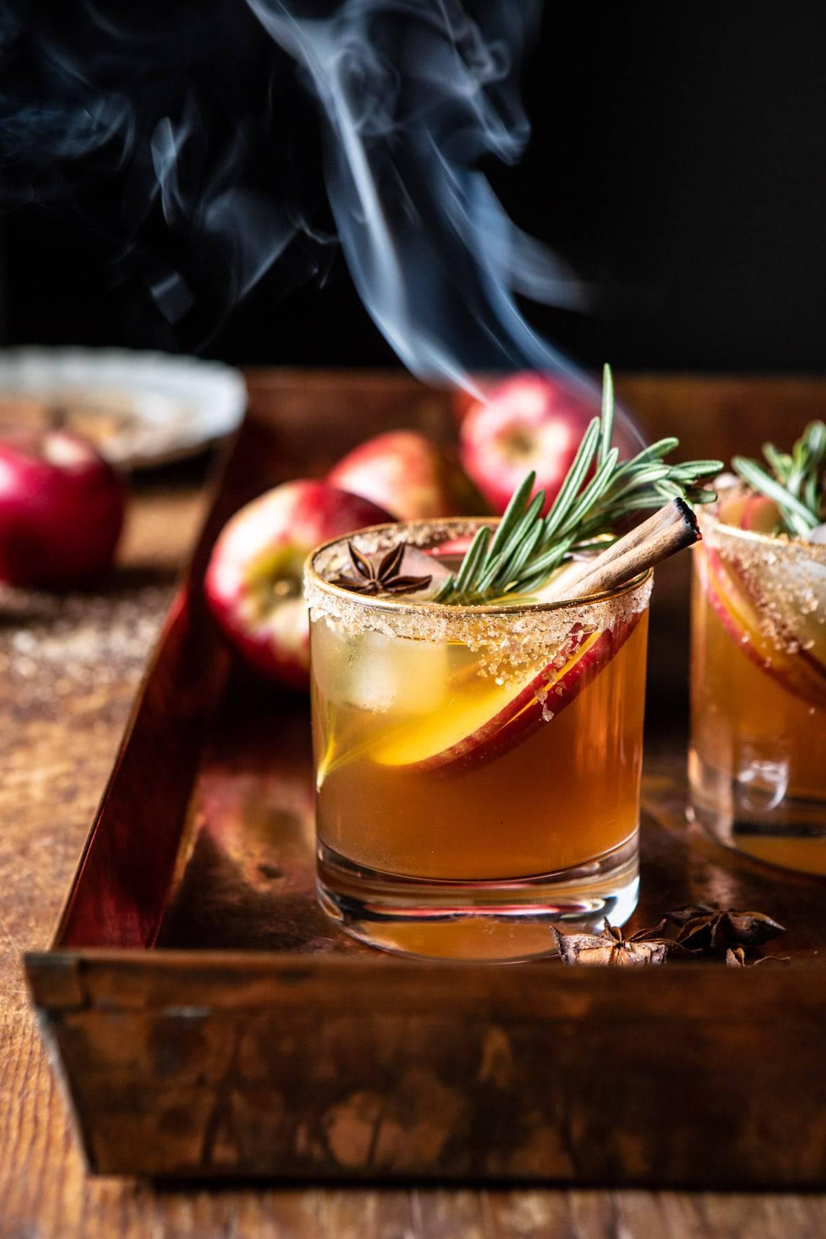 Smoky Harvest Apple Cider Margarita   halfbakedharvest.com #margarita #applecider #cocktail #holiday #thanksgiving