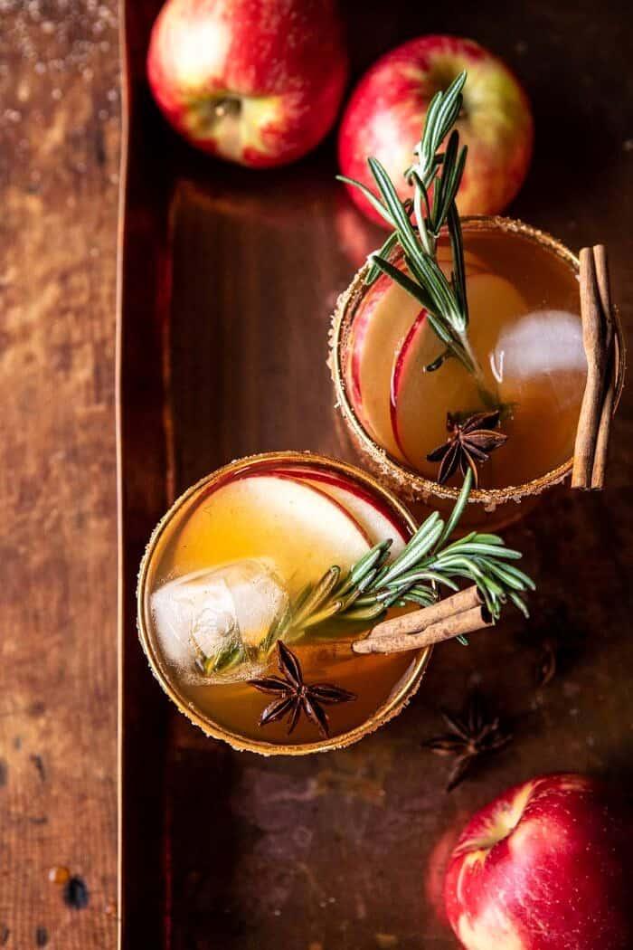 overhead photo of Smoky Harvest Apple Cider Margarita