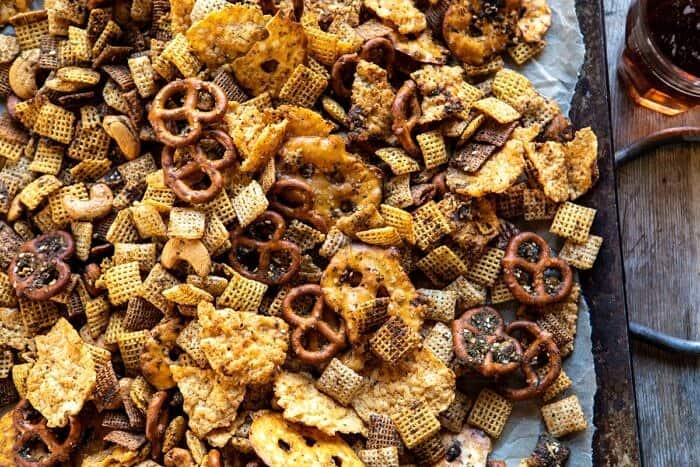 horizontal overhead photo of Spicy Ranch Chex Mix