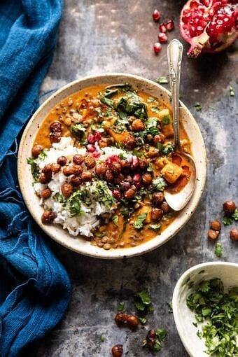 Sweet Potato Lentil Curry with Crispy Sesame Chickpeas | halfbkaedharvest.com #healthy #vegan #easyrecipes #fallrecipes