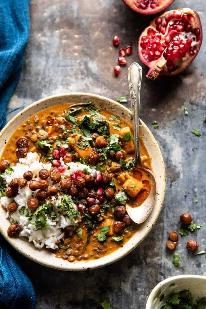 overhead photo of Sweet Potato Lentil Curry with Crispy Sesame Chickpeas