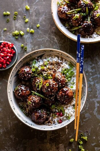 Weeknight Sticky Ginger Sesame Chicken Meatballs | halfbakedharvest.com #easyrecipe #chickenmeatballs #healthy
