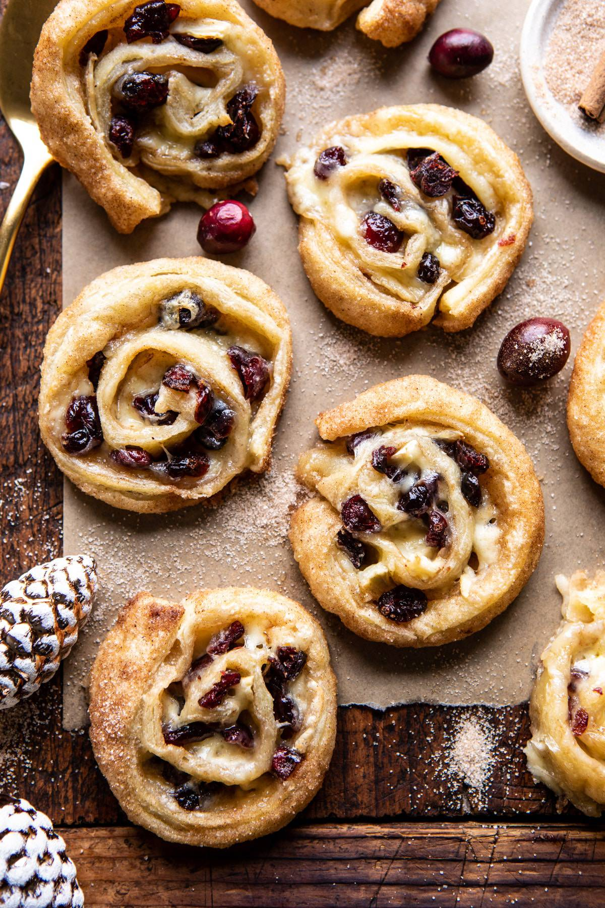 5 Ingredient Cranberry Brie Cinnamon Puff Pastry Swirls