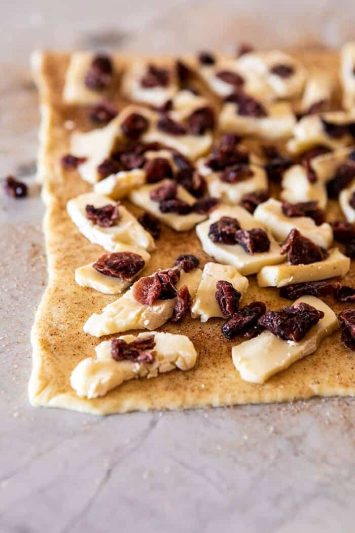 5 Ingredient Cranberry Brie Cinnamon Puff Pastry before rolling and baking