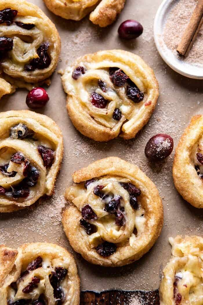 overhead close up photo of 5 Ingredient Cranberry Brie Cinnamon Puff Pastry Swirls