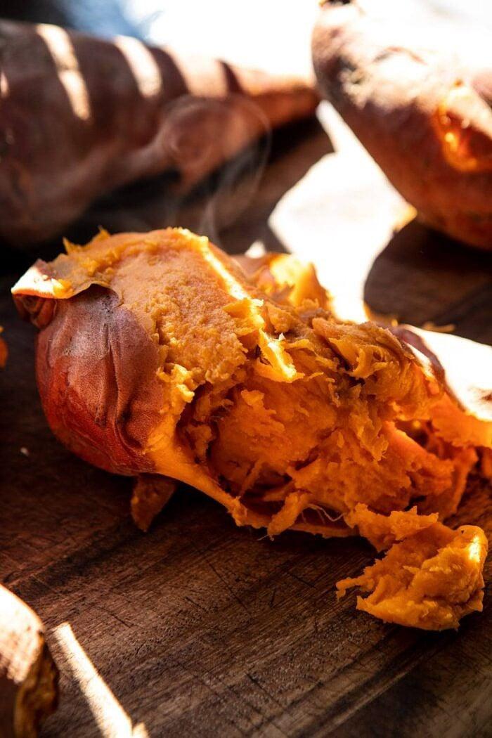 raw sweet potato with steam