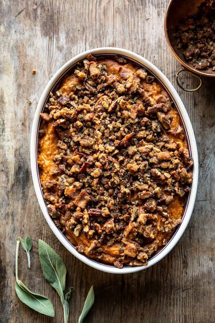 Bourbon Sweet Potato Casserole with Sweet n Savory Bacon Pecans before baking