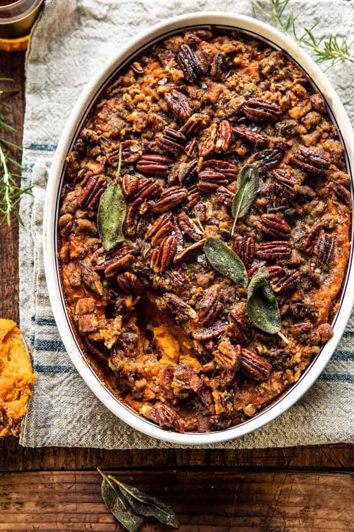 Bourbon Sweet Potato Casserole With Sweet N Savory Bacon Pecans