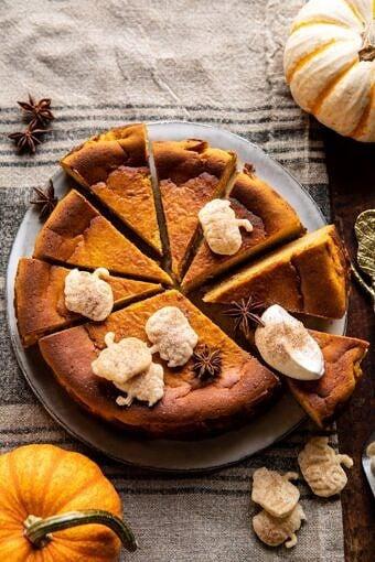 Burnt Basque Pumpkin Spice Cheesecake | halfbakedharvest.com #pumpkin #cheesecake #thanksgiving