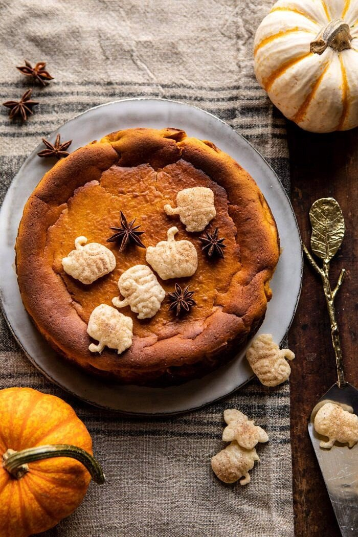 overhead photo of Burnt Basque Pumpkin Spice Cheesecake