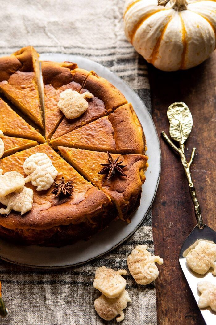 side angled close up photo of Burnt Basque Pumpkin Spice Cheesecake