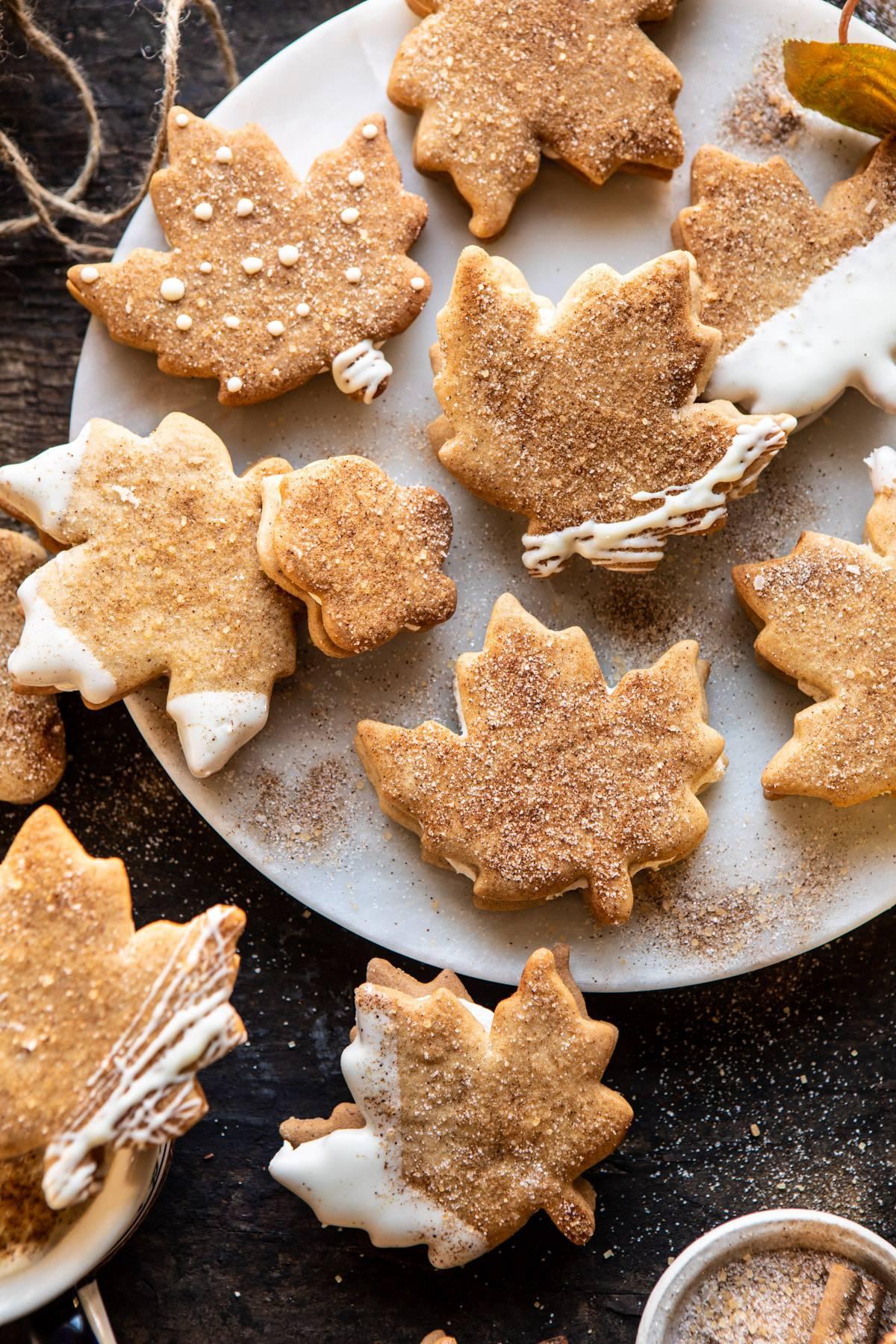 leaf shaped chai maple cookies