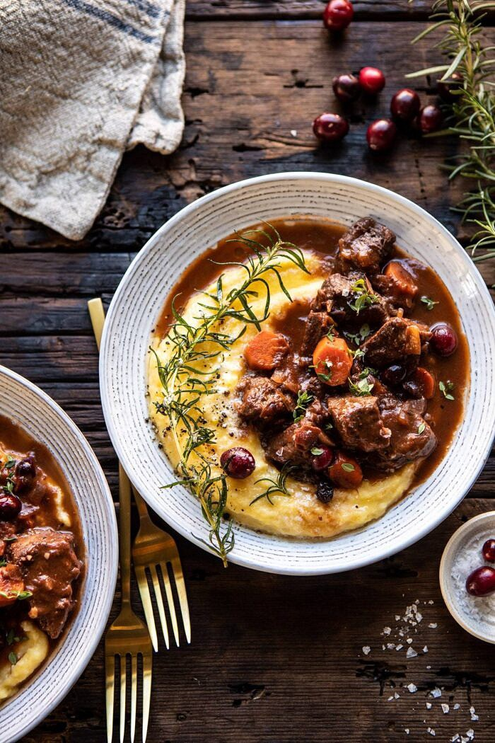 Cranberry Cider Braised Beef Stew with Rosemary Polenta | halfbakedharvest.com #slowcooker #instantpot #beef #polenta