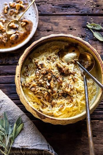 Creamed Spaghetti Squash with Browned Butter Walnuts.