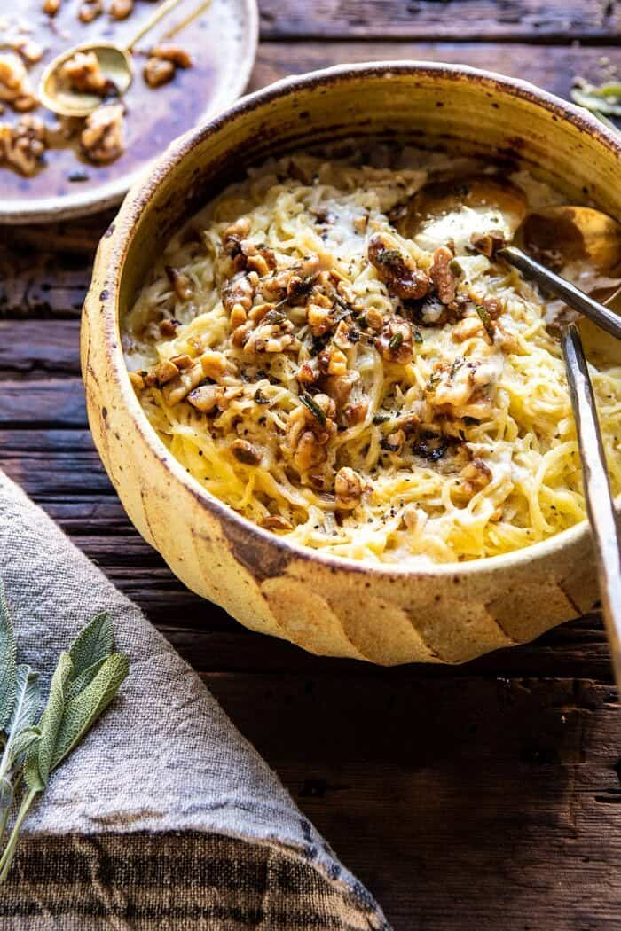 side angled photo of Creamed Spaghetti Squash with Browned Butter Walnuts