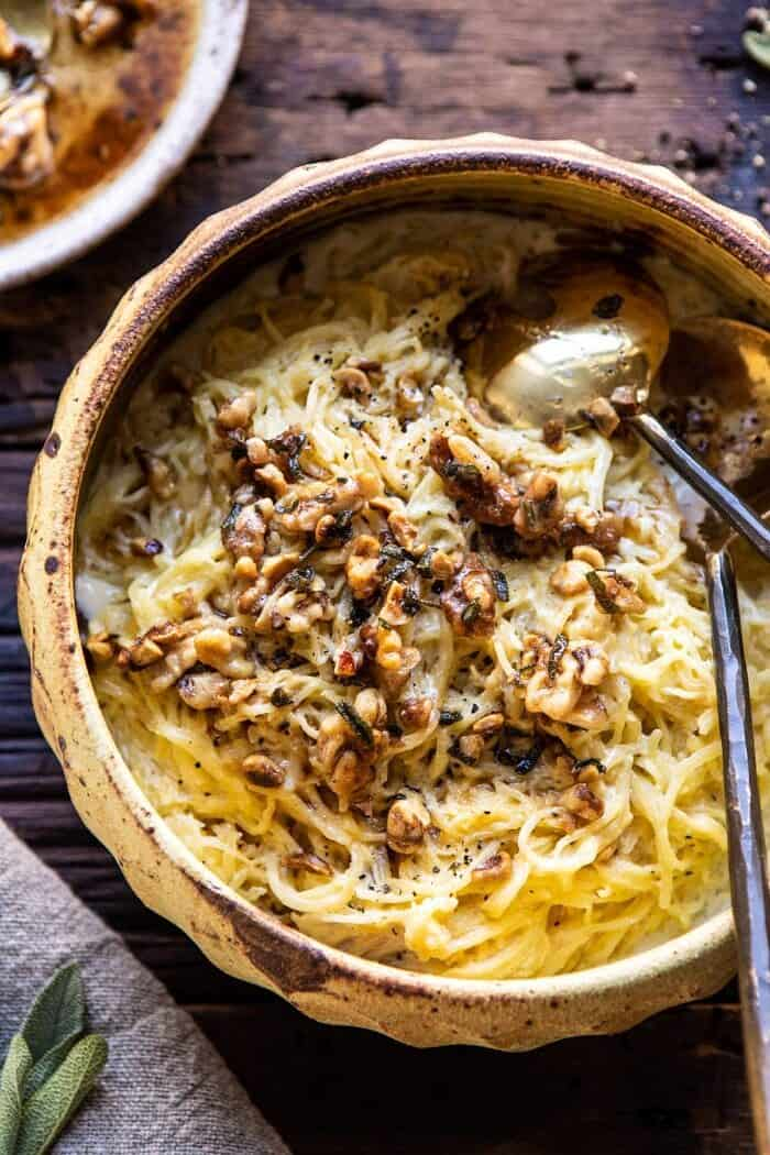 overhead photo of Creamed Spaghetti Squash with Browned Butter Walnuts